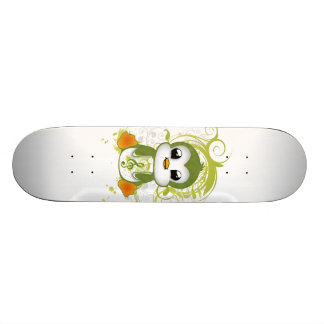 Cute penguin green fluffy effect music note swirls skateboard deck