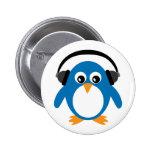 Cute Penguin & Headphones Customizable White Pinback Button