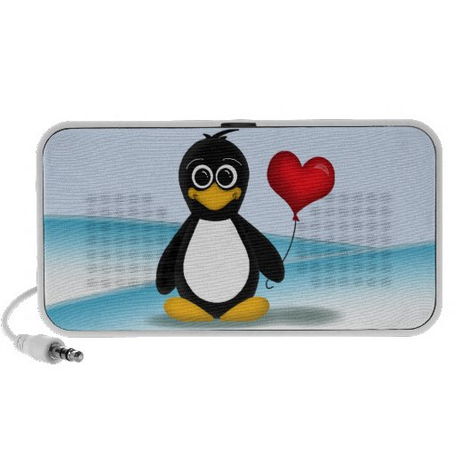 Cute Penguin Heart Balloon - Doodle Speaker