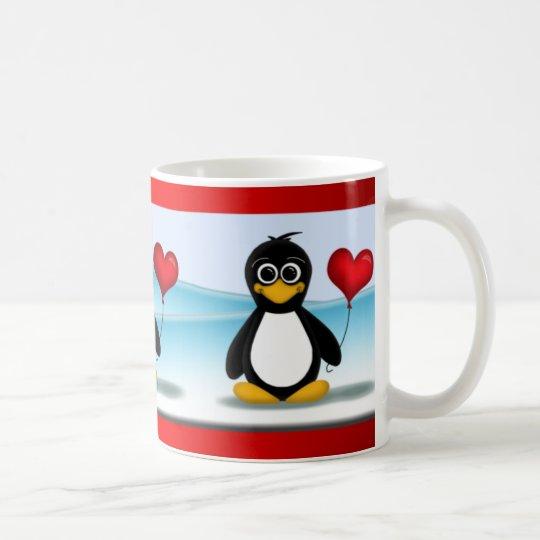 Cute Penguin Heart Balloon Valentine's Day Mug