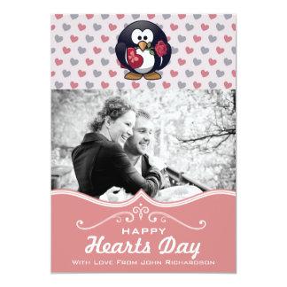 Cute Penguin Hearts | Custom Photo Valentine's Day Card