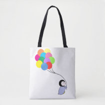 Cute penguin holding balloons tote bag