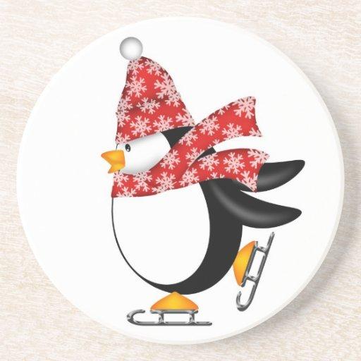 Cute Penguin Ice Skates Coaster
