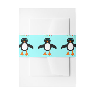 Cute Penguin Invitation Belly Band