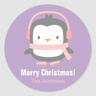 Cute Penguin Kids Christmas Decor Stickers