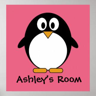 cute penguin kid's door poster