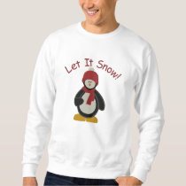 Cute Penguin Let It Snow Embroidery Pattern Embroidered Sweatshirt