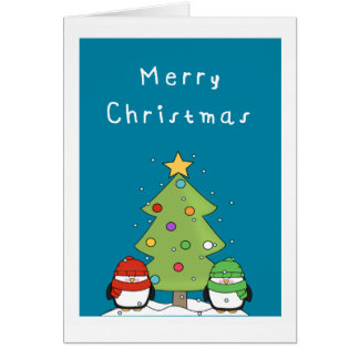 cute penguin merry christmas card