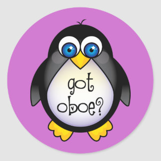 Cute Penguin Music Got Oboe Classic Round Sticker