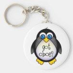 Cute Penguin Music Got Oboe Basic Round Button Keychain