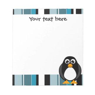 Cute Penguin Notepad - Blue Stripe