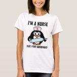 Cute penguin nursing t shirt for super nurse