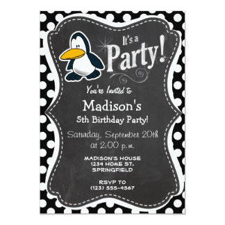 Cute penguin on Black and White Polka Dots Card