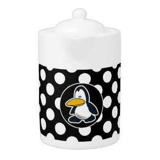 Cute penguin on Black and White Polka Dots