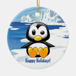 Cute Penguin on Ice Christmas Tree Ornaments