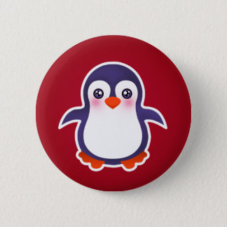 Cute Penguin On Red Background Illustration Button