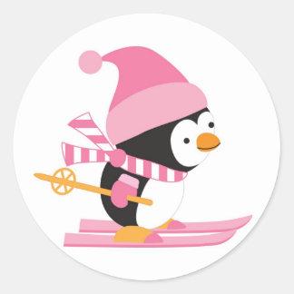 Cute Penguin on Snow Skis Round Sticker