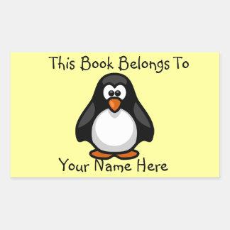 Cute Penguin on Yellow Book Name Plate Rectangular Sticker