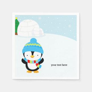Cute penguin paper napkin