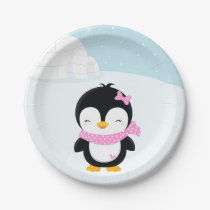 Cute penguin paper plate