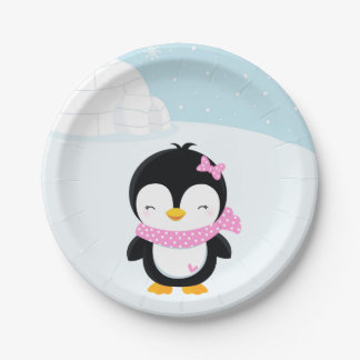 Cute penguin paper plate