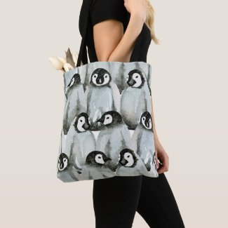 Cute Penguin Pattern Black and White Tote Bag
