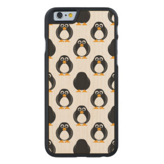Cute Penguin Pattern Carved Maple iPhone 6 Slim Case