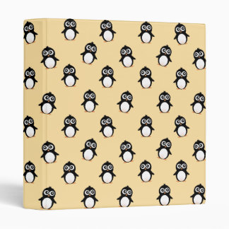 Cute penguin pattern - golden yellow 3 ring binder
