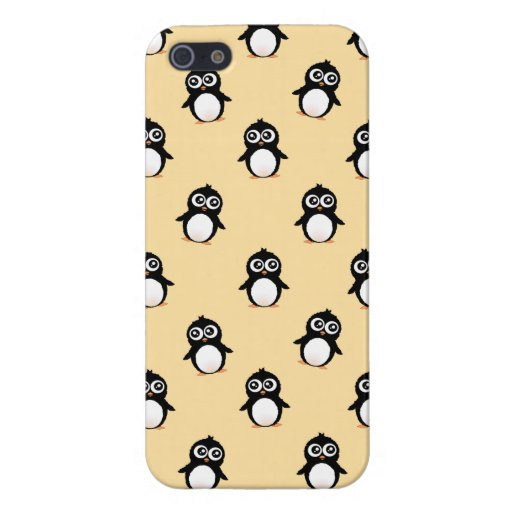 Cute penguin pattern - golden yellow iPhone 5 cover