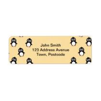 Cute penguin pattern - golden yellow label