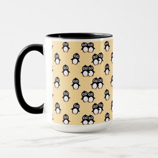 Cute penguin pattern - golden yellow mug