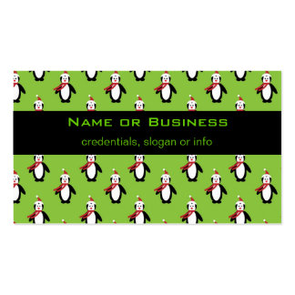 Cute Penguin Pattern on Green Background Business Card Template