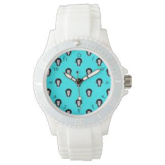 Cute Penguin Pattern on Turquoise Wrist Watch