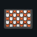 "Cute Penguin Pattern Skin Trifold Wallet<br><div class=""desc"">Cute black Penguin with orange background skin pattern design. Great for showing kids pictures.</div>"