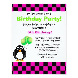Cute Penguin Pink & Black Checkered Birthday Card