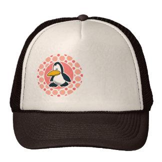 Cute Penguin; Pink & Coral Polka Dots Trucker Hat