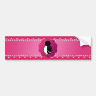 Cute penguin pink diamonds car bumper sticker