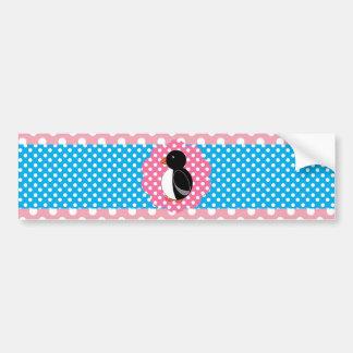 Cute penguin pink polka dots car bumper sticker