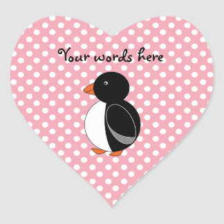 Cute penguin pink polka dots heart sticker