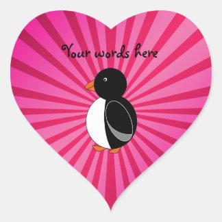 Cute penguin pink sunburst heart sticker