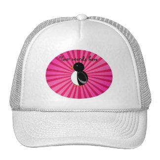 Cute penguin pink sunburst trucker hat