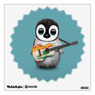 Cute Penguin Playing PEI Flag Guitar Blue Wall Decal