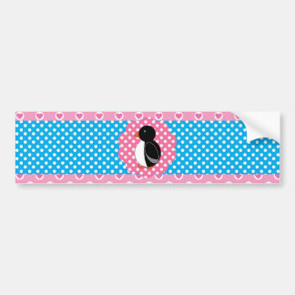 Cute penguin polka dot hearts car bumper sticker