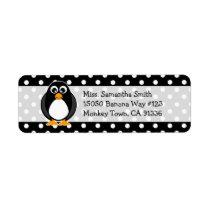 Cute Penguin Polka Dot Return Address Labels