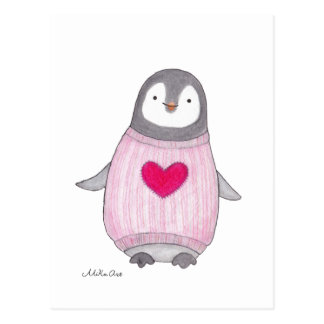 Cute Penguin Postcard Penguin with Red Heart Card