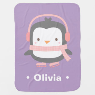 Cute Penguin Purple Personalized Baby Blanket