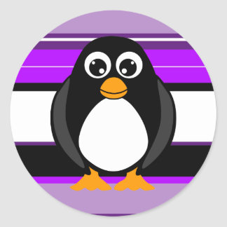Cute Penguin Purple Striped Stickers