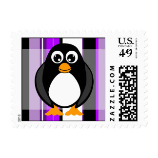 Cute Penguin Purple Stripes Postage Stamp