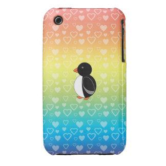 Cute penguin rainbow hearts iPhone 3 Case-Mate cases