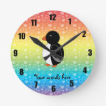 Cute penguin rainbow hearts round wall clocks